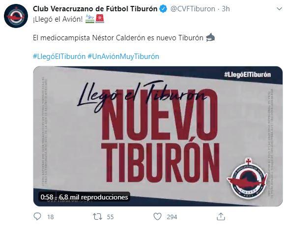 Néstor Calderón Club Veracruzano Tuit Los Pleyers
