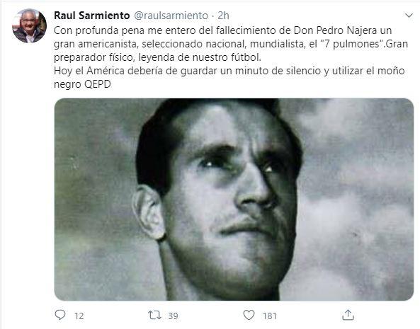 Raúl Sarmiento Tuit Muerte Pedro Nájera Los Pleyers