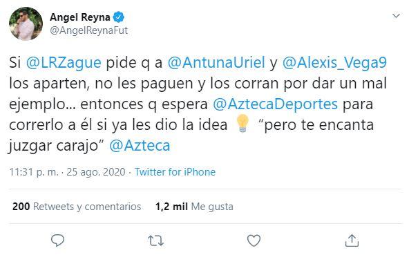 Tuit de Reyna contra Zague