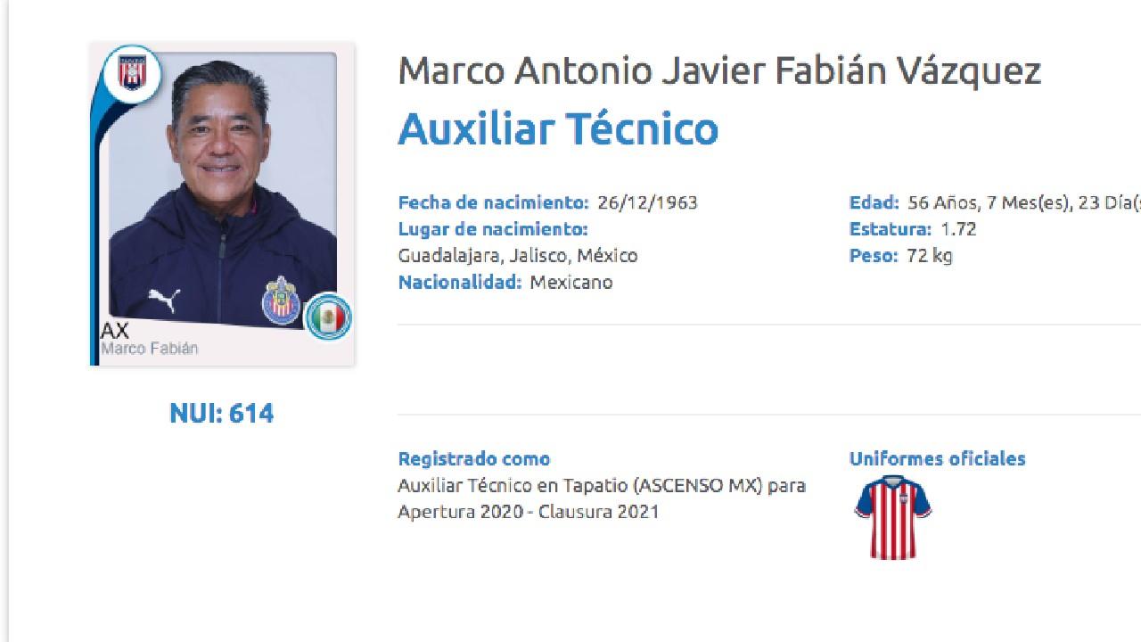 El papá de Marco Fabián fue registrado con el Tapatío