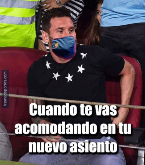Meme de Messi en la banca