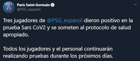El PSG informó que tres de sus jugadores tienen coronavirus