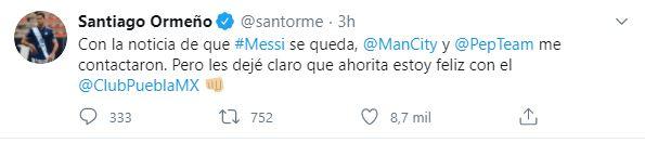 Tuit de Santiago Ormeño para el Manchester City