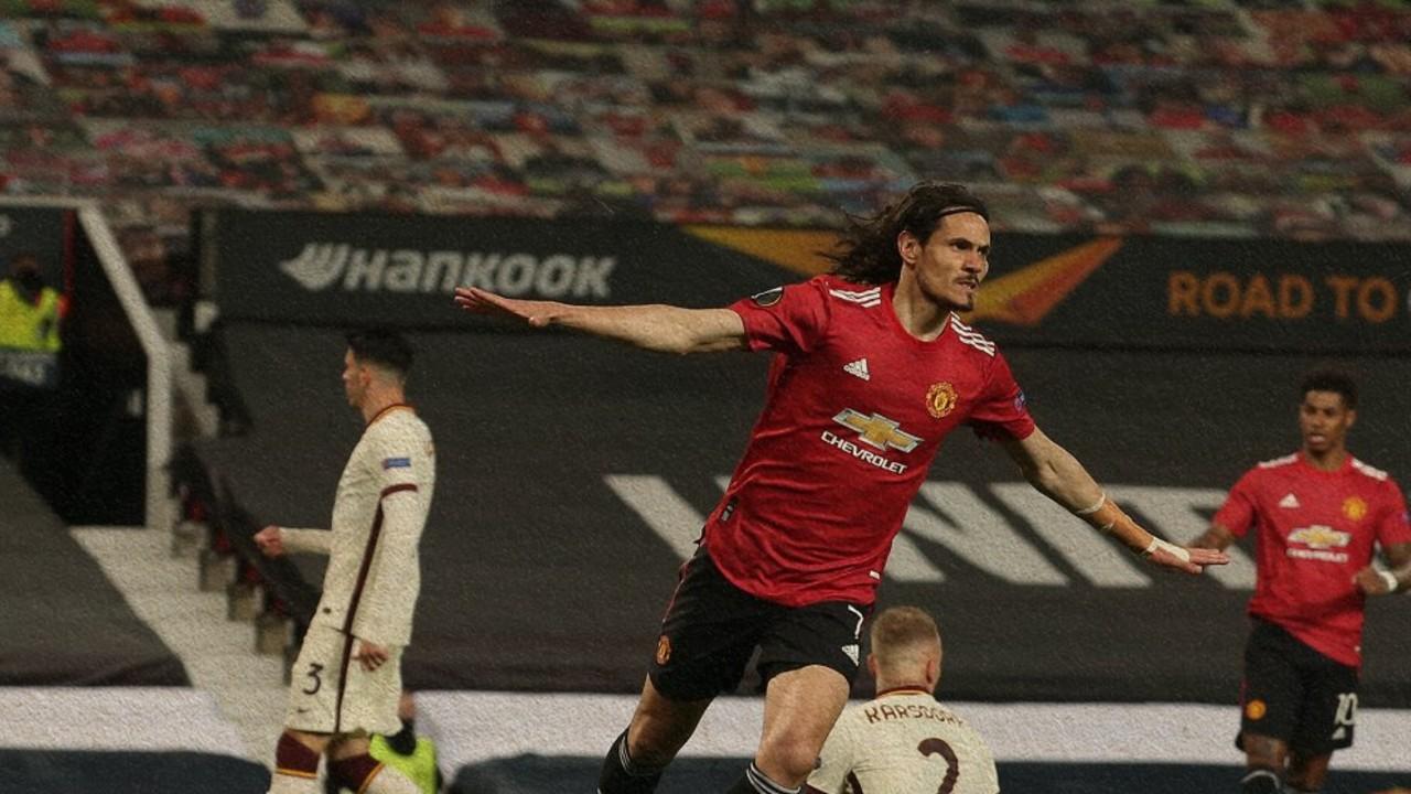 Manchester United gol Cavani Roma Europa League