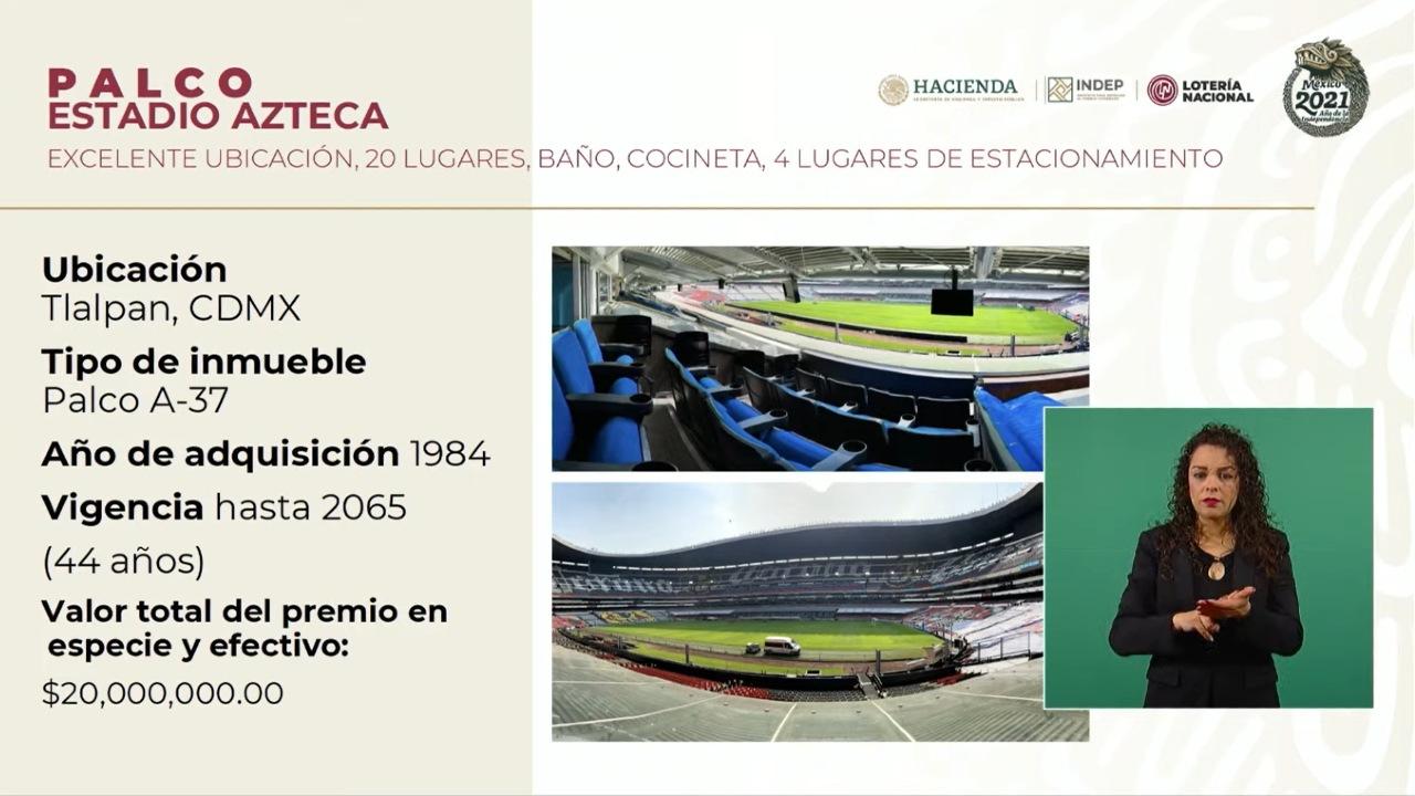 palco estadio azteca boleto sorteo loteria nacional