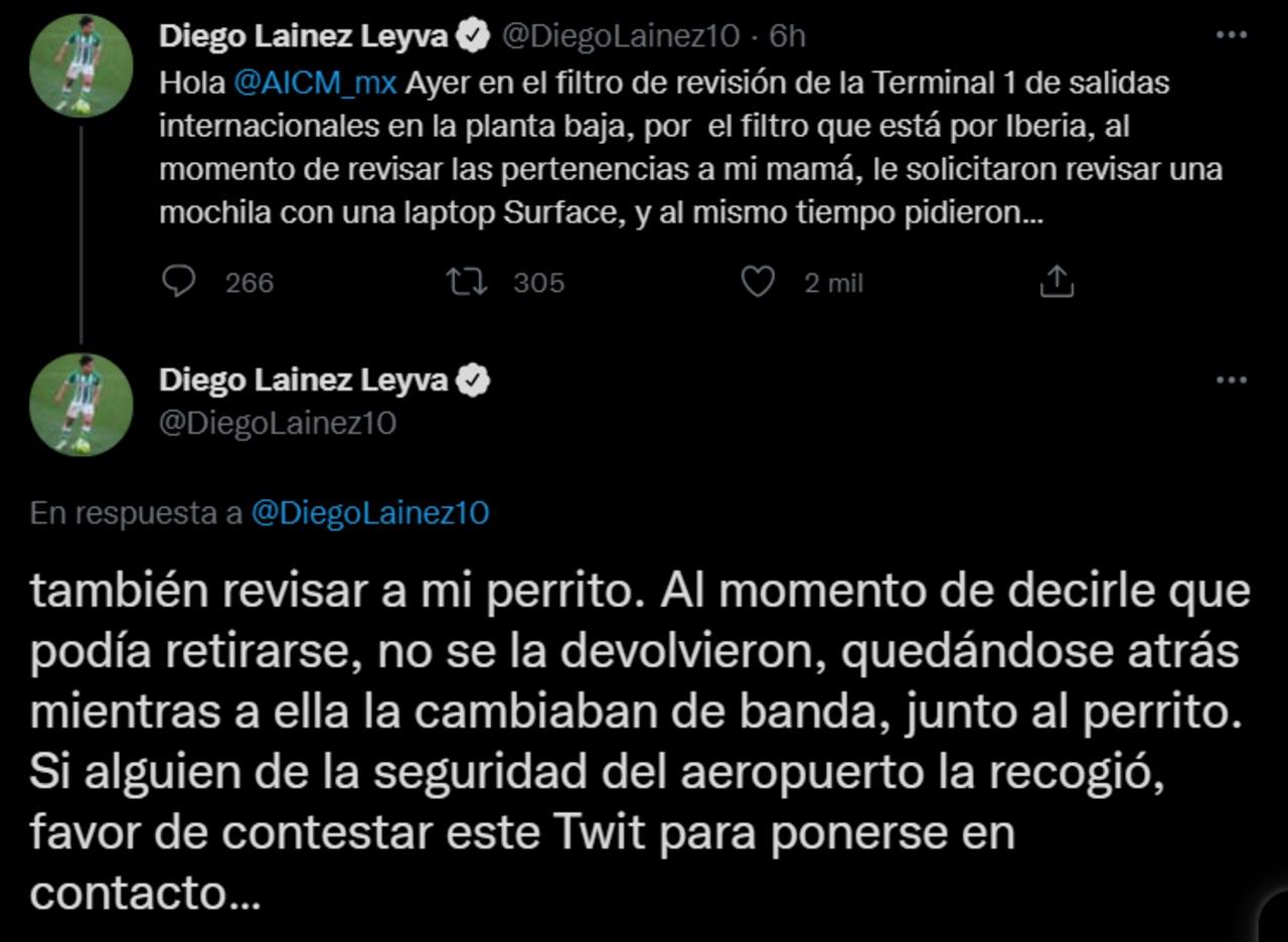 Diego Lainez sufre robo en el Aeropuerto Internacional de la CDMX