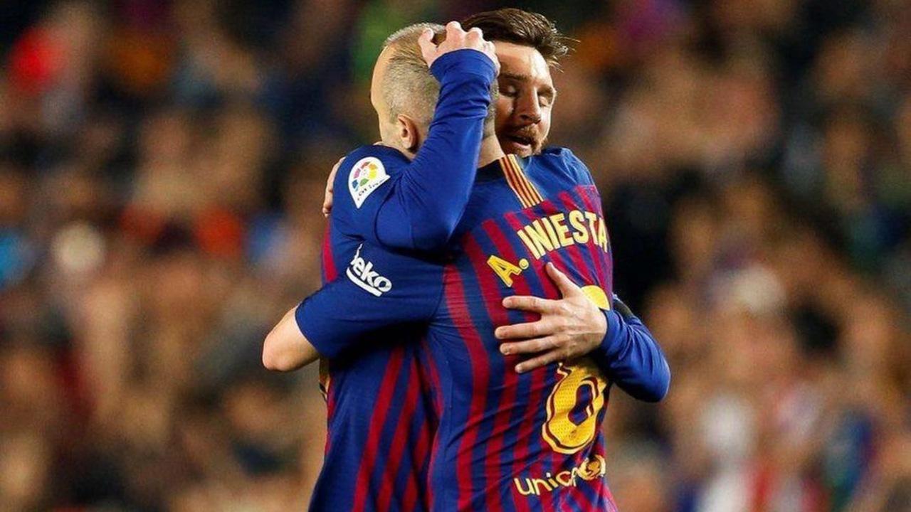 Leo Messi andres iniesta barcelona despedida