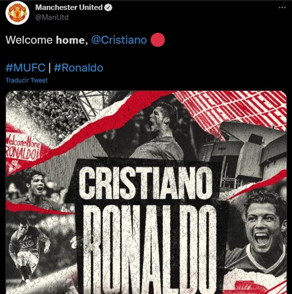 Manchester United hace oficial el regreso de Cristiano Ronaldo
