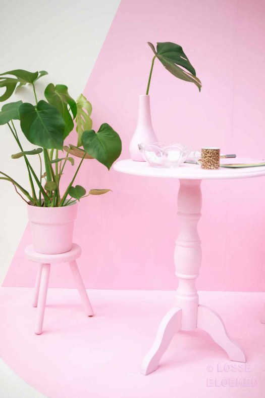 Trends Roze losse bloemen showup Monstera. hoekje door brainydays