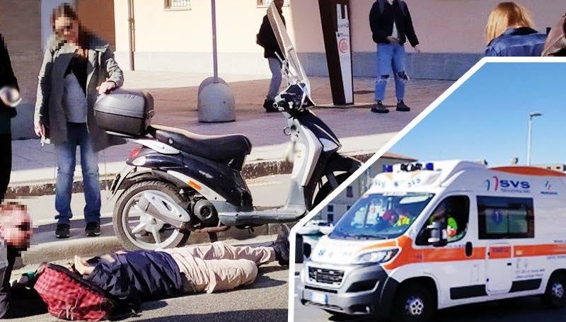 Duro scontro tra uno scooter e una macchina in Piazza Mazzini
