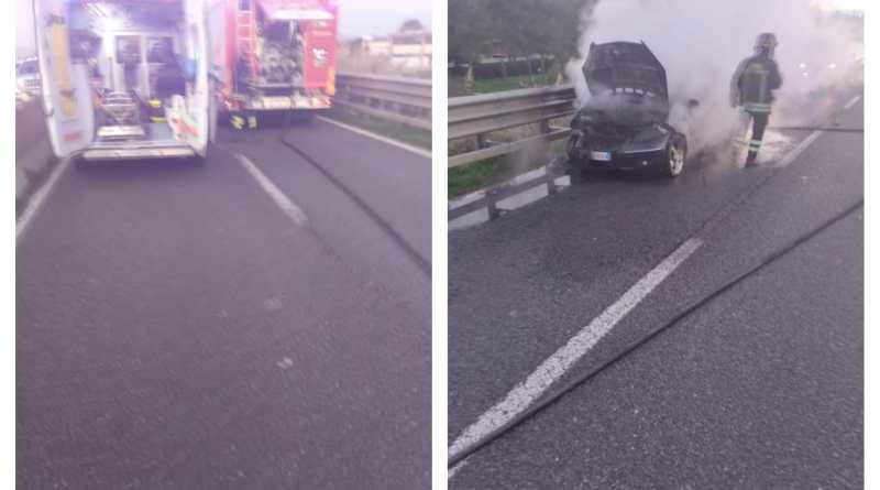 Auto in fiamme sulla variante Aurelia