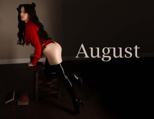 Lossien as Rin TOhsaka, wearing a long brown wig and a red shirt. Also black latex leggings, on the left side of the photo. The word 'August' is on the center right.