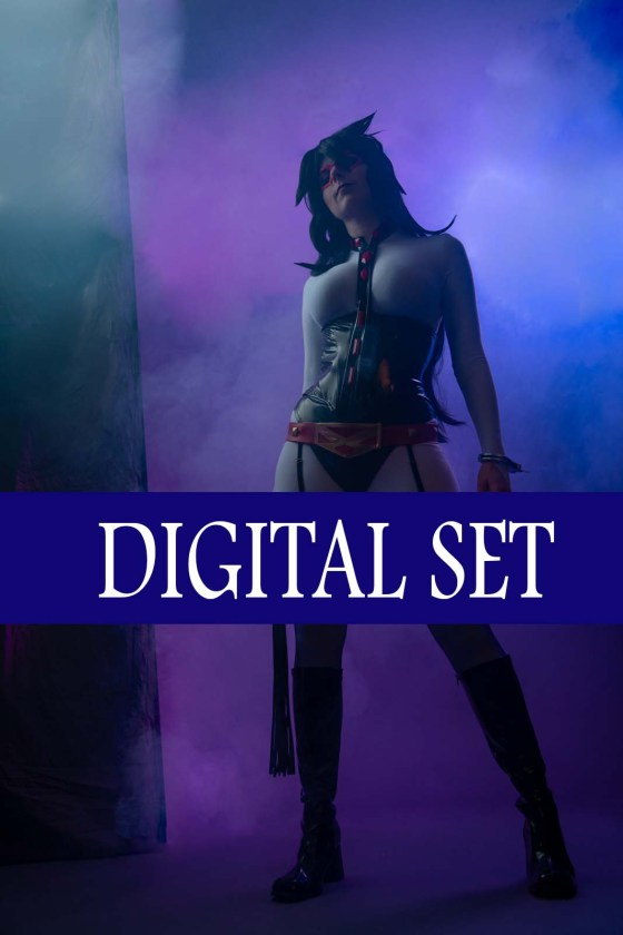 A digital set photo. Lossien standing as Lady Midnight, wearing a white bodysuit, with a black PVC corset and underpants. She is also wearing purple thigh highs, and a long black wig. She is standing in front of a foggy purple background.