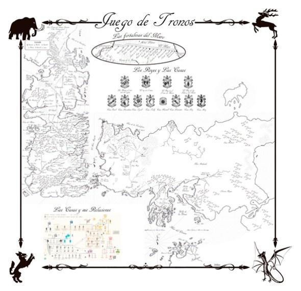 Mapa completo Juego de Tronos en español - Canción de Hielo y Fuego