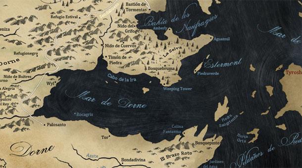 Mapa de Dorne - Vientos de Invierno
