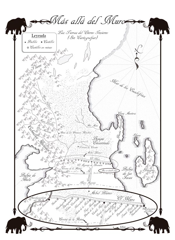 Mapa de Más Allá del Muro en Español Juego de Tronos
