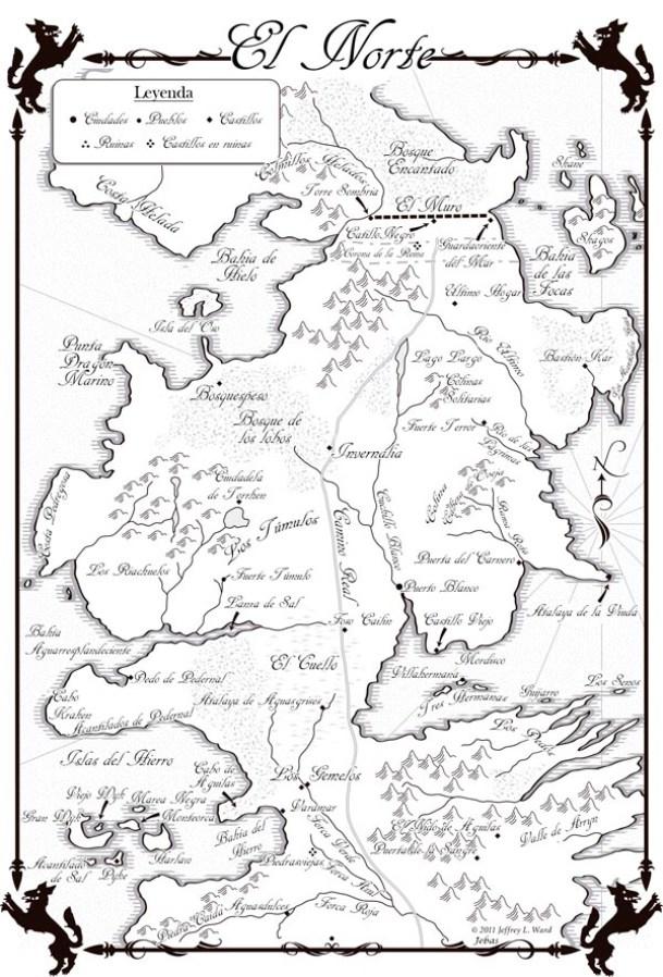 mapa de el norte en español Juego de Tronos