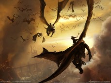 Dragones luchando