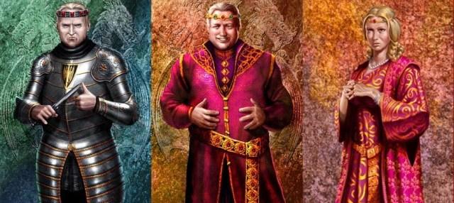 Viserys I (en el centro), con Rhaenyra y Aegon