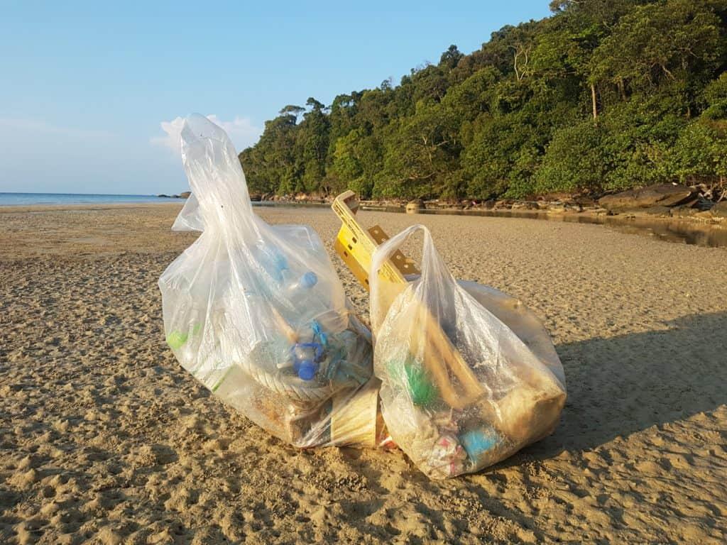 Garbage bags on Koh Rong Sanloem, Cambodia