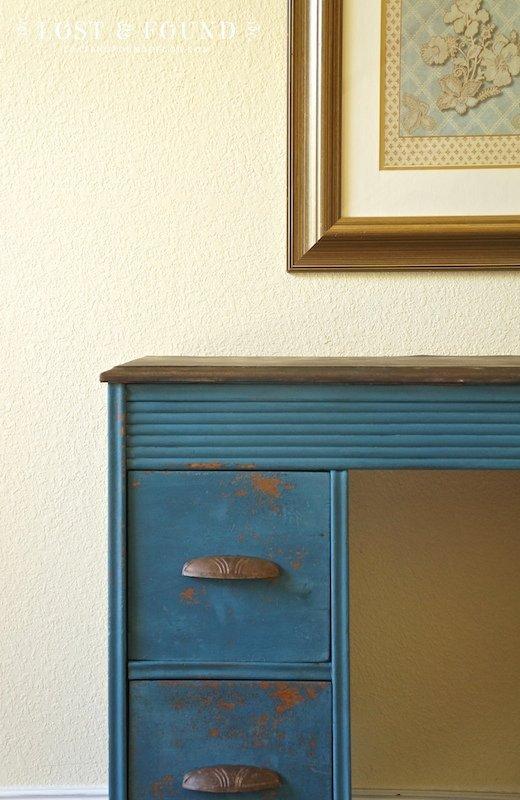 Flow Blue Milk Paint Desk Makeover
