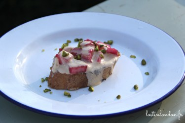 Eggy bread with pan-roast rhubarb with rosemary and elderflower sabayon - Josh Eggleton