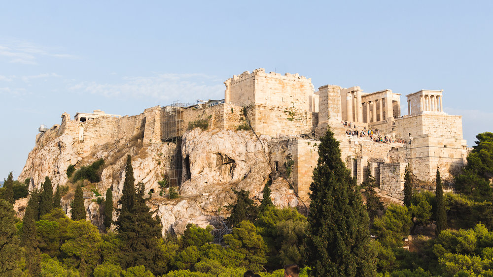 Photo of the Acropolis from Areopagus rock while lost in Athens Greece.