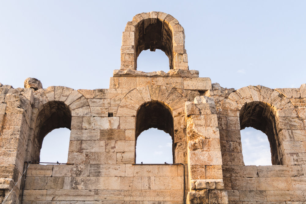 Photo of Odeon of Herodes Atticus ruins in Athens Greece.