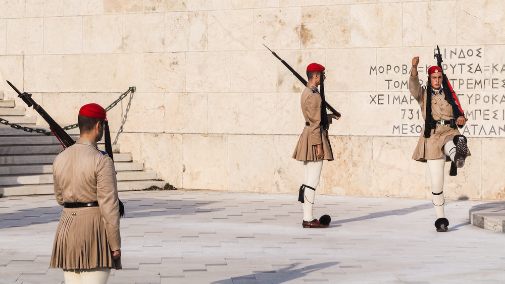 Photo of the changing of guards at Parliament building on Syntagma Square in Athens Greece.