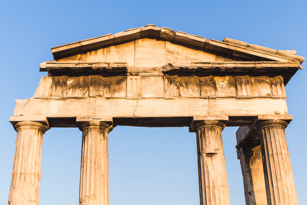 Photo of ancient pillars in Athens Greece.