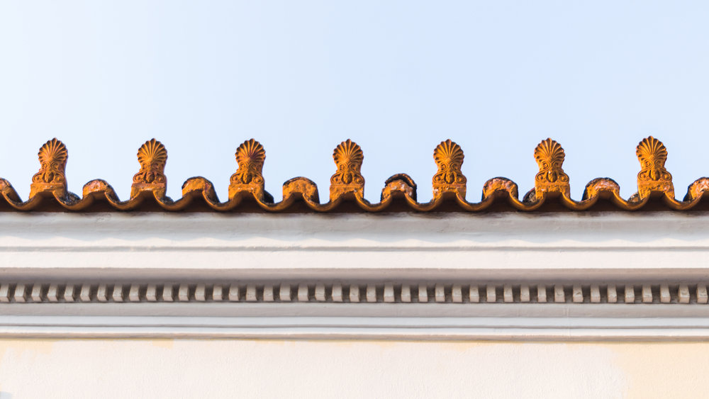 Photo of interesting rooftop architecture in Athens Greece.