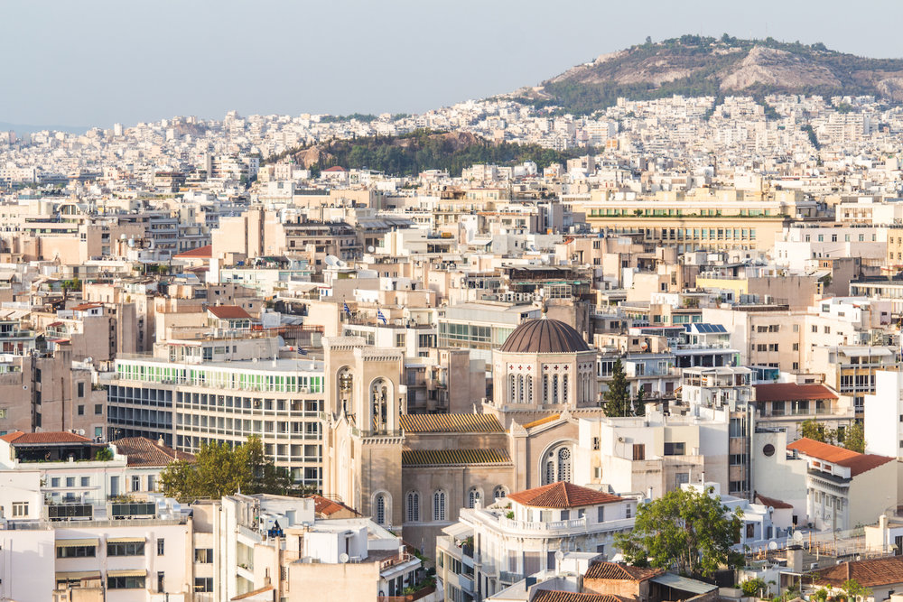Photo of Athens Greece at dusk.