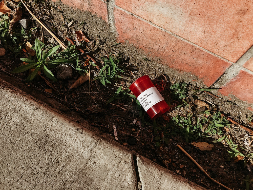 Lost in Los Angeles Photo Series. Photo of a red bottle that used to hold weed in the dirt.