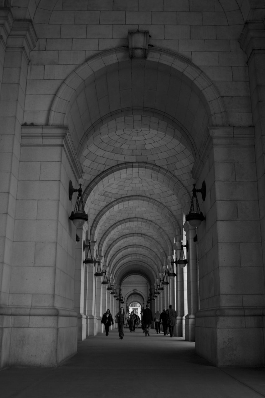 Testing F-Stop and Shutter Speeds - Archways in Black and White.