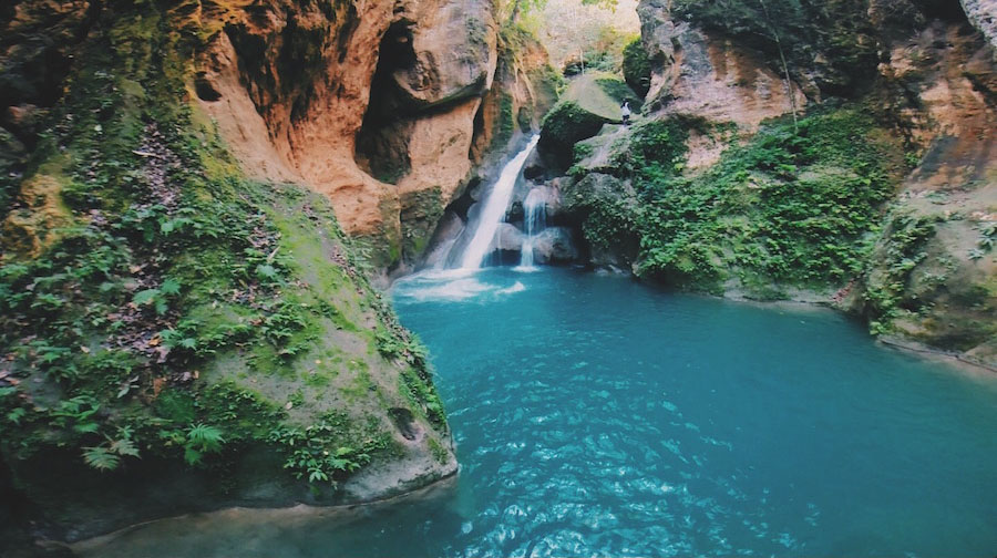 Bassin Bleu waterfall near Jacmel Haiti, a favorite spot for Haitians to swim in and a top tourist attraction.