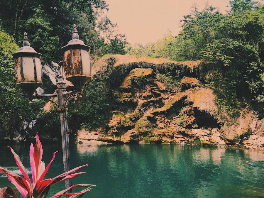 A deep bleu hidden lagoon in Camp-Perrin Haiti.