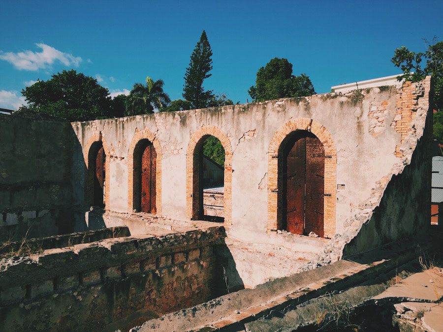Old ruins and crumbling factories in Jacmel Haiti.