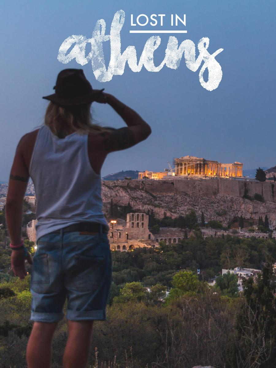 Photo Lost in Athens poster featuring the Acropolis at night.