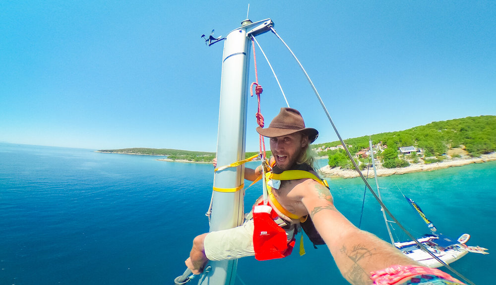 Atop the mast in Croatia