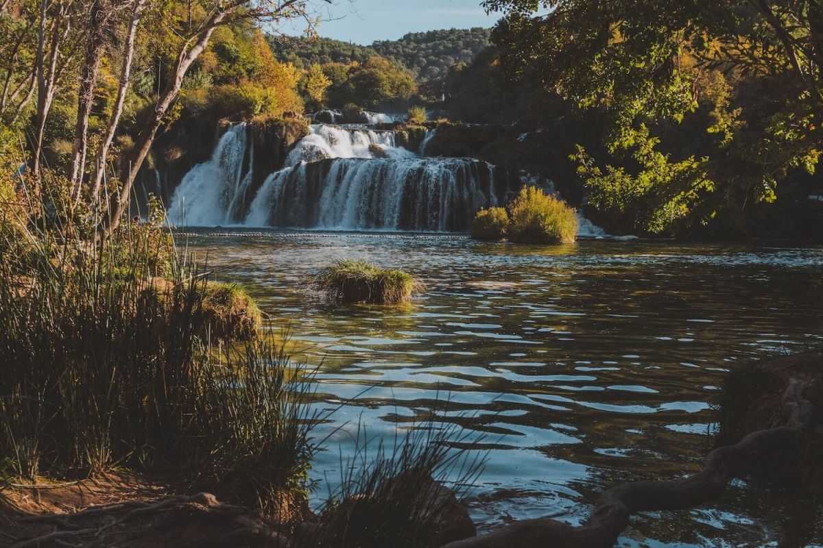 Photo of scenery in Krka National Park in Croatia during autumn.