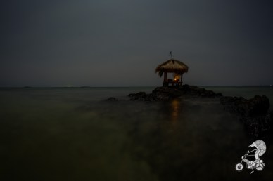 The hut during night.