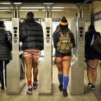 Bare-Legged Subway Commuters from Around the World on No Pants Day 2014