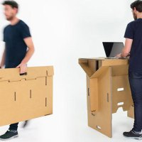 Foldable, Portable and Recycled Cardboard Standing Desk
