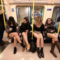 "Commuters Brave the Cold to Celebrate ""No Pants Day"" 2016"