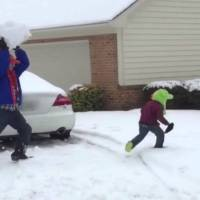 Dad Wallops His Child With Giant Snowball