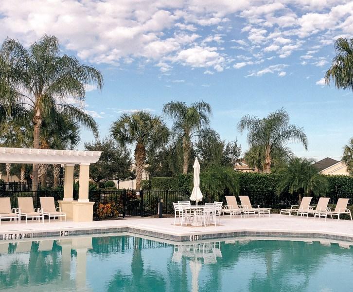 Sarasota, Florida, Pool, Swimming pool, palm trees, blue skies