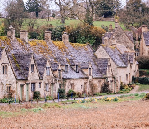 Arlington Row, Bibury, Cotswolds, Gloucestershire, UK, England