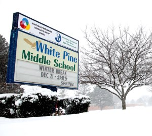 white pine winter break sign