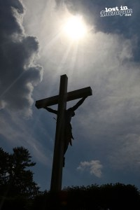 cross in the woods back