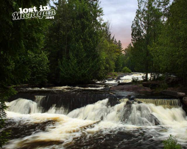 bond falls michigan waterfall